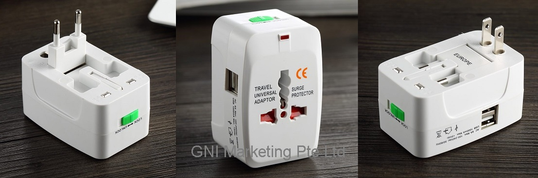 Universal Travel Adaptor with 2 USB Hub - 1199